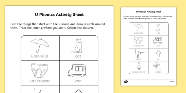 U Phonics Worksheet   Worksheet
