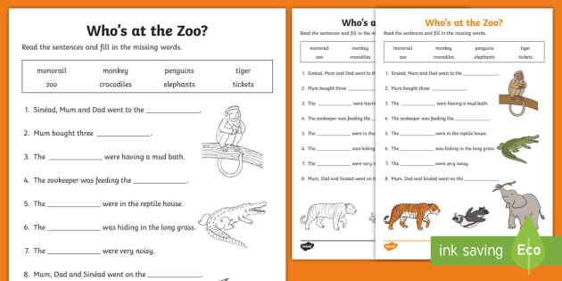 Who's At The Zoo  Fill In The Blanks Worksheet   Worksheet
