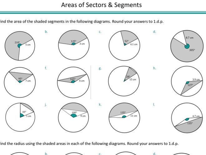 Areas Of Sectors And Segments By Ragmaths