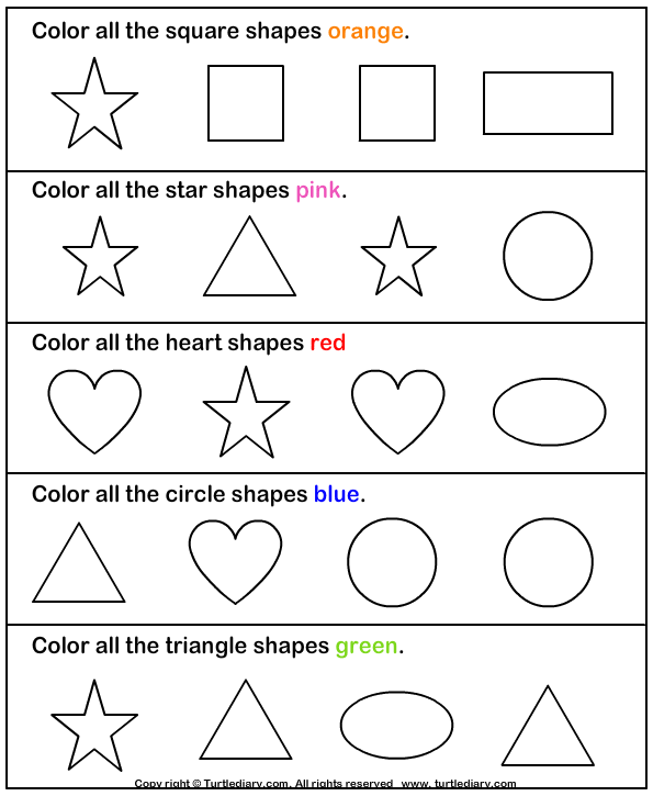 Shapes And Colors Worksheets For Kindergarten