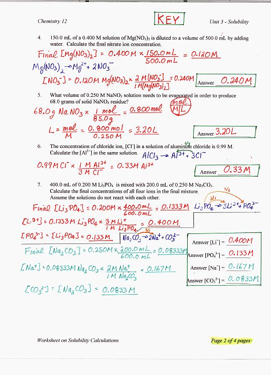 Solubility Worksheets Answer Key