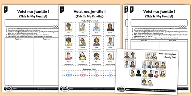 French La Famille Worksheet   Worksheet Voici Ma Famille