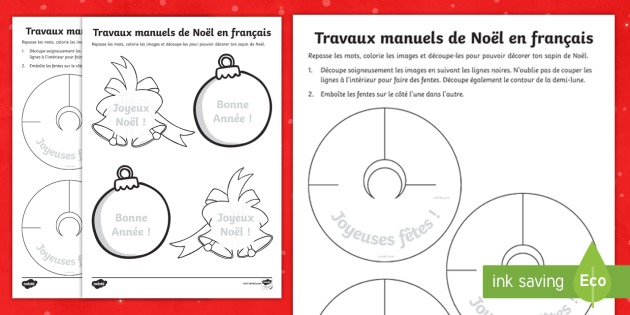 French Christmas Crafts Worksheet   Worksheets