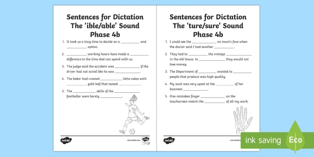 Ible, Able, Ture & Sure Sound Worksheet