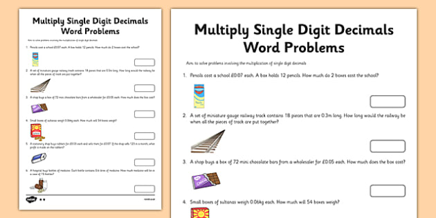 Year 6 Multiply Single Digit Decimals Word Problems Worksheet