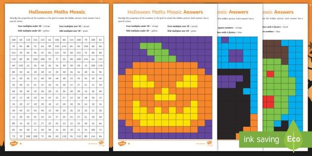 Uks2 Halloween Maths Mosaic Differentiated Worksheet   Worksheets