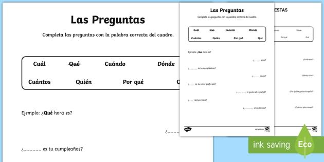 Question Words Worksheet   Worksheet