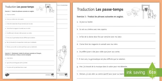 Hobbies Translation Worksheet   Worksheet French