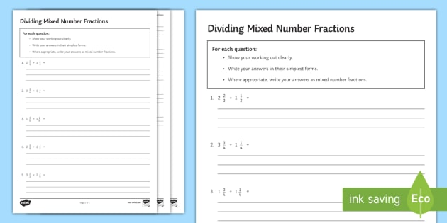 Dividing Mixed Number Fractions Worksheet   Worksheet