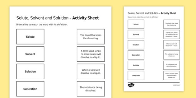 Solute, Solvent And Solution Match And Draw