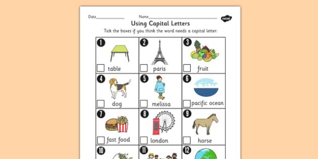 Using Capital Letters Worksheet