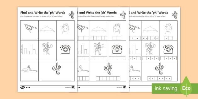 Find And Write The Ph Words Differentiated Worksheet   Worksheets