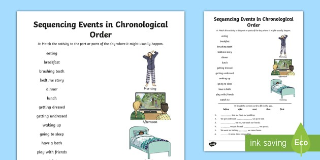 Sequencing Events In Chronological Order Worksheet   Worksheet