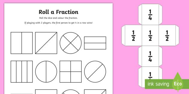 Year 1 Roll A Fraction Worksheet   Worksheet