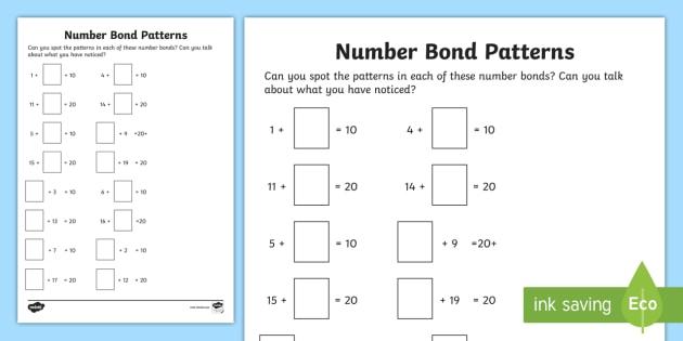 Number Bond Patterns Worksheet