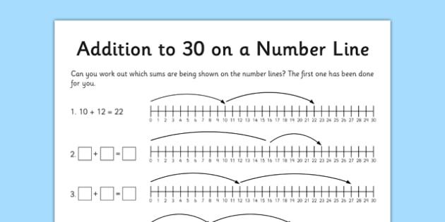 Addition To 30 Worksheet   Worksheet