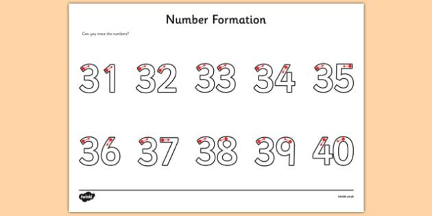 Number Formation Worksheet   Worksheet 31