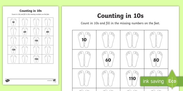 Counting In 10s With Feet Worksheet