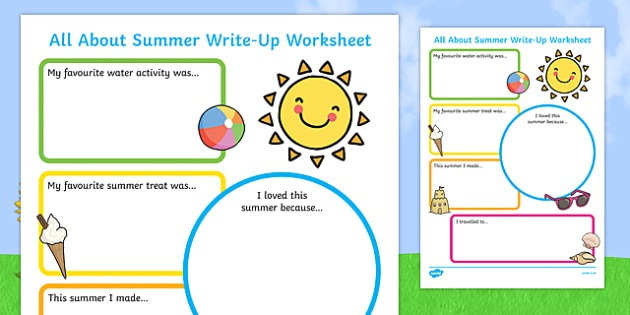 Summer Holiday Write Up Worksheet