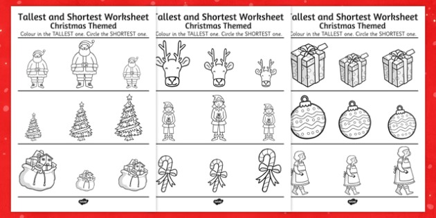 Christmas Themed Tallest And Shortest Worksheets