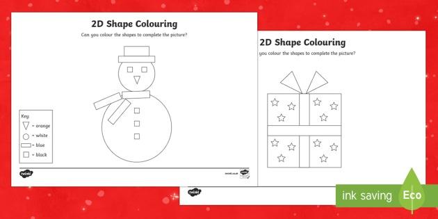 Christmas Colour By 2d Shape Worksheet   Worksheets