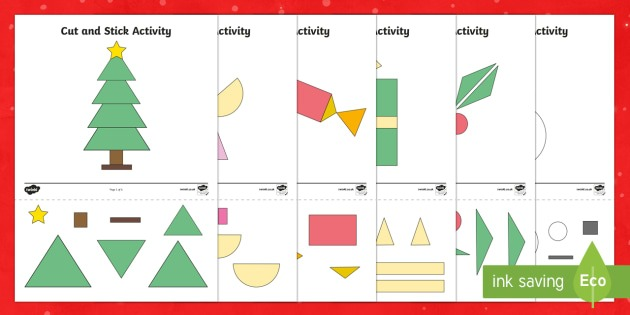 Christmas Themed Cut And Stick 2d Shape Worksheet   Worksheets