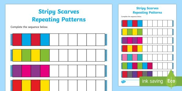 Stripy Scarves Repeating Patterns Worksheet   Worksheet