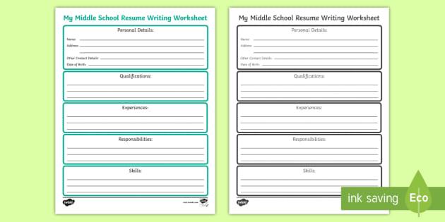 My Middle School Cv Writing Worksheet   Worksheet