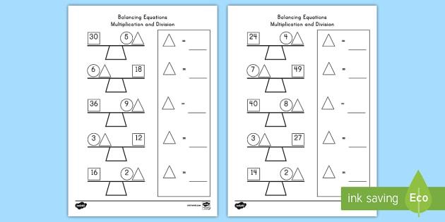 Balancing Multiplication And Division Equations Worksheet   Worksheet
