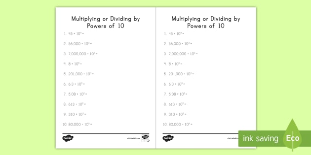 Multiplying Or Dividing By Powers Of 10 Worksheet   Worksheet