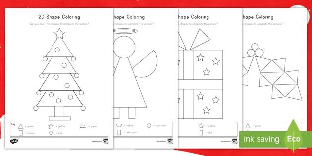 Christmas Color By 2d Shapes Worksheet   Worksheets