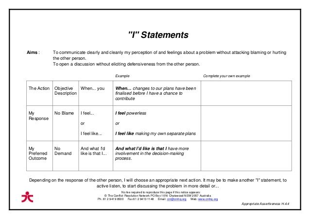 Image Result For Using I Statements Worksheet