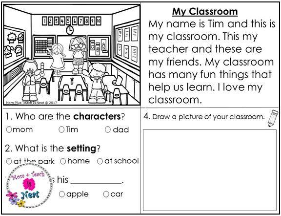 Kindergarten Story Element Worksheets