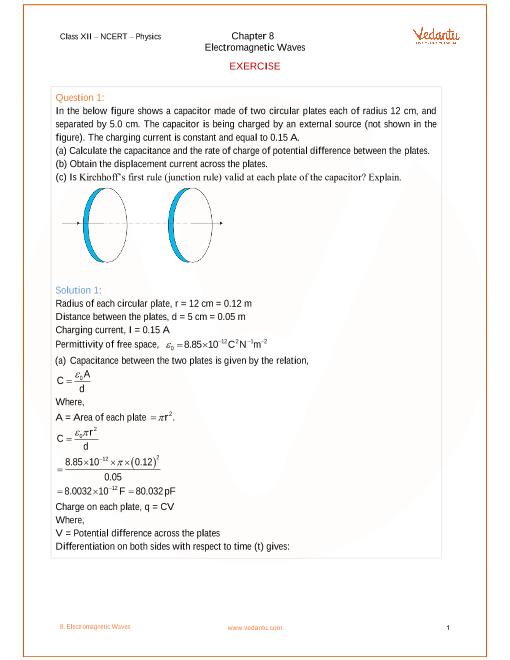 Ncert Solutions For Class 12 Physics Chapter 8 Electromagnetic