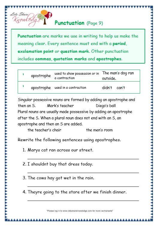 Grade 3 Grammar Topic 30  Punctuation Worksheets