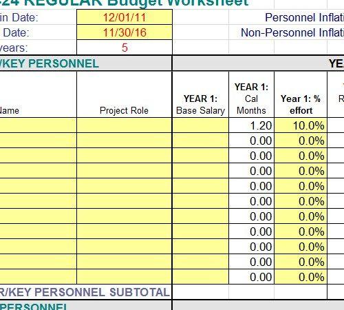 Employee Payroll Budget Worksheet Template