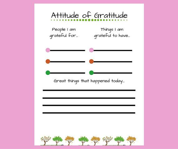 Digital Download  Attitude Of Gratitude This Printable Worksheet