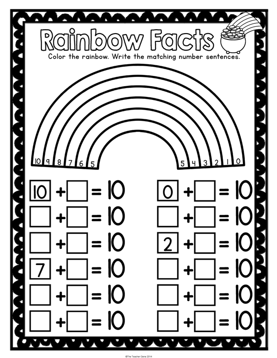 St Patrick's Day Kindergarten Math Activities Pack (print And Go