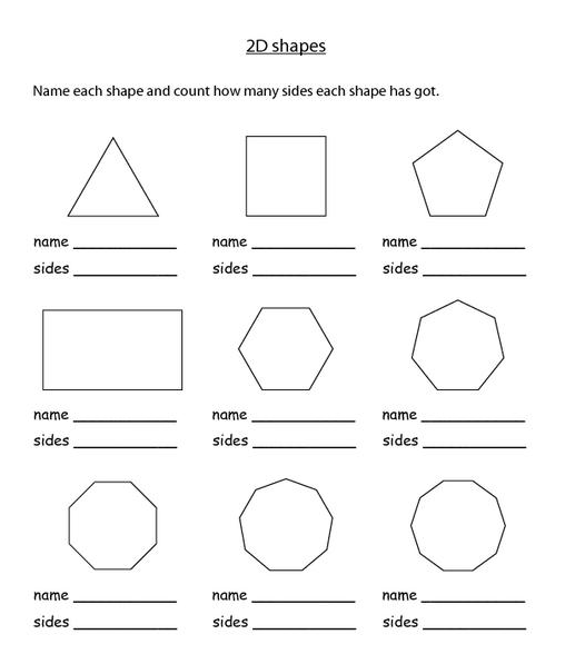 Naming 2d Shapes Worksheet