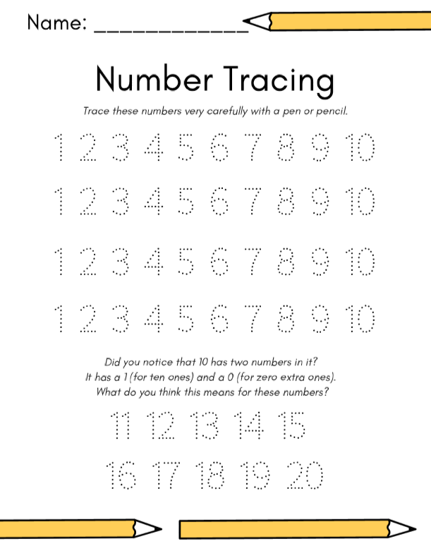 Number Tracing Worksheet 1