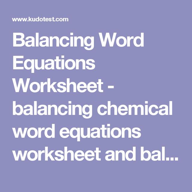 Balancing Word Equations Worksheet