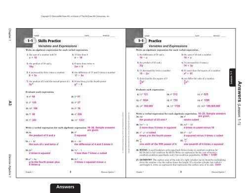Algebra I Chapter 1 Practice Workbook Answer Key