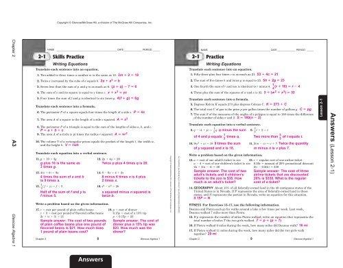 Algebra I Chapter 2 Practice Workbook Answer Key