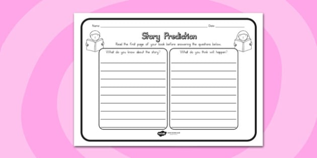 Story Prediction Comprehension Worksheet