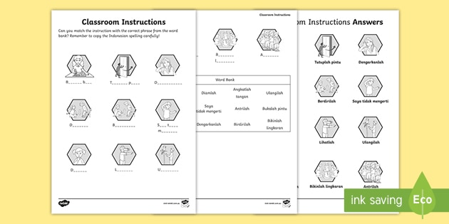 Qld   New   Classroom Instructions Worksheet Indonesian