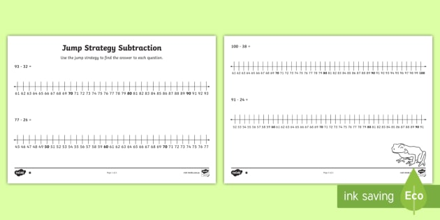 Differentiated Jump Strategy Subtraction Questions Worksheet