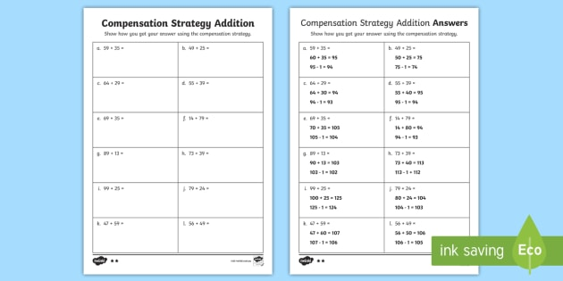 Compensation Strategy Addition Questions Worksheet