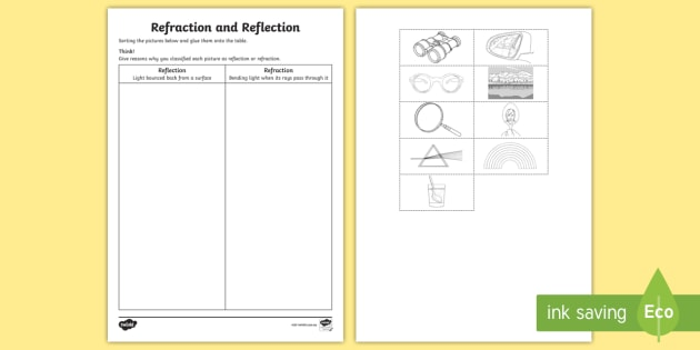 Refraction And Reflection Worksheet   Worksheet