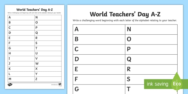 World Teachers' Day A To Z Worksheet