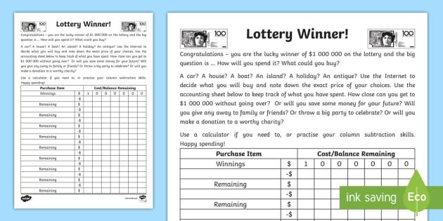 Lottery Winner Accounting Worksheet   Worksheet